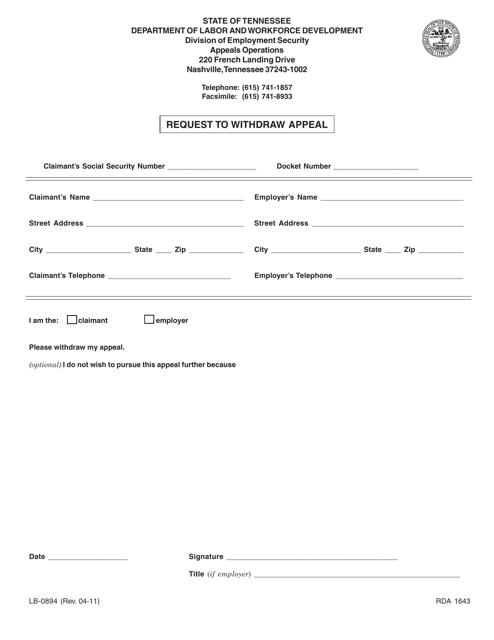 Form LB-0894  Fillable Pdf