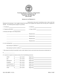 "Form LB-1108 ""Affidavit of Indigency"" - Tennessee"
