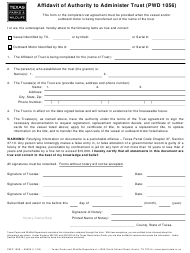 "Form PWD1056 ""Affidavit of Authority to Administer Trust"" - Texas"
