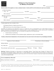 Form PWD 1175 Affidavit of Fee Exemption for Military Personnel - Texas