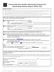 Form PWD 763 Ownership/Lien Holder Information Printout or Ownership History Report - Texas