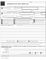 Form PWD 314 Affidavit of Fact - Texas