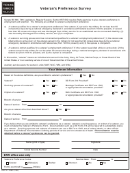 Form PWD 741 Veteran's Preference Survey - Texas