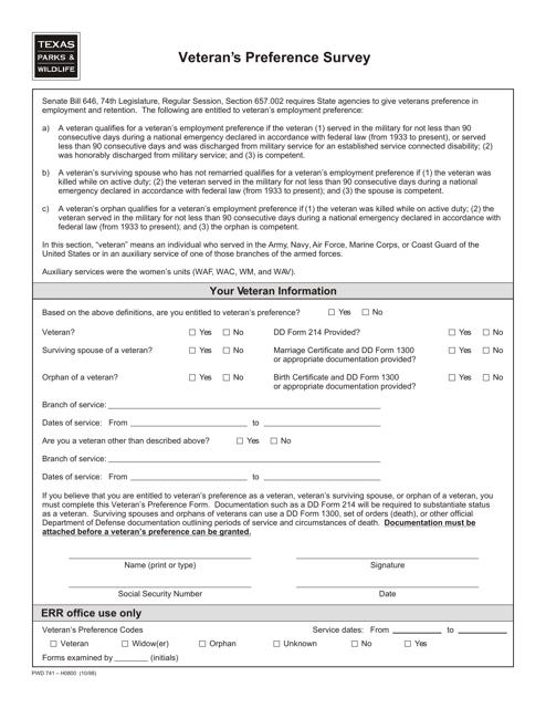 Form PWD741  Printable Pdf