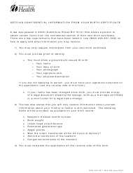"Form DOH422-081 ""Application for Confidential Birth Information"" - Washington"