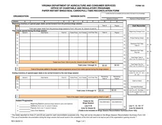 "Form 105 ""Paper Instant Bingo/Seal Cards/Pull-Tabs Reconciliation Form"" - Virginia"