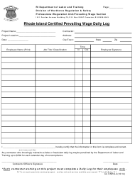 "Form DLT-WRS-4 ""Rhode Island Certified Prevailing Wage Daily Log"" - Rhode Island"
