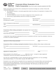 """Corporate Officer Exemption Form - Public Corporation"" - Washington"