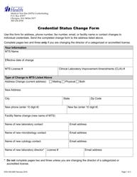 "Form DOH505-089 ""Credential Status Change Form"" - Washington"