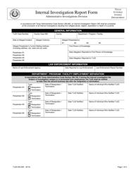 "Form TJJD-AID-005 ""Internal Investigation Report Form"" - Texas"