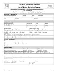 """Form TJJD-FRM-002 """"Juvenile Probation Officer Use of Force Incident Report"""" - Texas"""