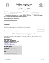 """Form TJJD-JJAEP-008 """"(Full Day) Summer School Attendance Voucher"""" - Texas"""