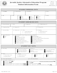 """Form TJJD-JJAEP-003 """"Student Information Form"""" - Texas"""
