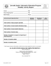 "Form TJJD-JJAEP-004 ""Jjaep Monthly Activity Report"" - Texas"
