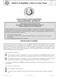 """Form TJJD-FIS-180 """"Affidavit of Eligibility to Receive State Funds"""" - Texas"""