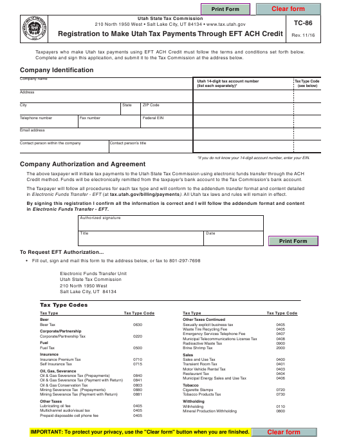 Form TC-86  Printable Pdf