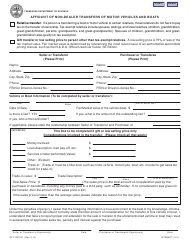 """Form RV-F1301201 """"Affidavit of Non-dealer Transfers of Motor Vehicles and Boats"""" - Tennessee"""