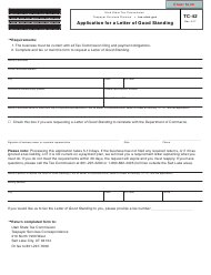 """Form TC-42 """"Application for a Letter of Good Standing"""" - Utah"""