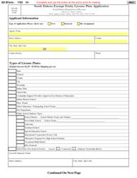 "SD Form 1793 (MV-098) ""South Dakota Exempt Entity License Plate Application"" - South Dakota"