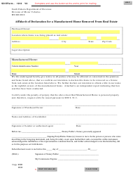 "SD Form 1912 (MV-003) ""Affidavit of Declaration for a Manufactured Home Removed From Real Estate"" - South Dakota"