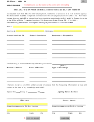 """Form DSS-CP-594 (SD Form 1051) """"Declaration of Prior Criminal Conviction and Military History"""" - South Dakota"""