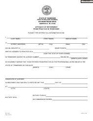 "Form PH-3460 ""Affidavit of Retirement From Practice in Tennessee"" - Tennessee"