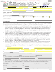 "Form DOT-200 (SD Form 0929) ""Application for Utility Permit"" - South Dakota"