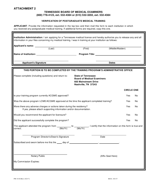 Form PH-4183 Attachment 2  Printable Pdf
