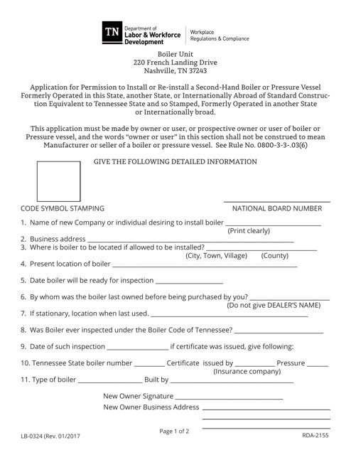 Form LB-0324  Printable Pdf