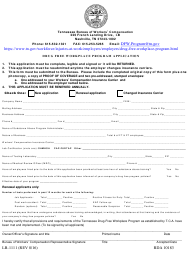 "Form LB-1111 ""Drug Free Workplace Program Application"" - Tennessee"