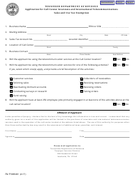 "Form RV-F1305401 ""Application for Call Center Interstate and International Telecommunications Sales and Use Tax Exemption"" - Tennessee"
