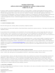 """Instructions for Form PA-401 """"Application for Commercial Pesticide Applicator License"""" - Texas"""