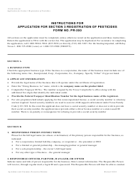 """Instructions for Form PR-200 """"Application for Section 3 Registration of Pesticides"""" - Texas"""