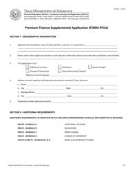 "Form PF1A (FIN161) ""Premium Finance Supplemental Application"" - Texas"