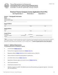 "Form PF1 ""Premium Finance Company License Application"" - Texas"