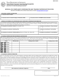 "Form DWC EDI-03 ""Medical Edi Compliance Coordinator and Trading Partner Notification"" - Texas"