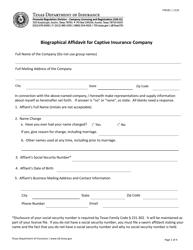 "Form FIN181 ""Biographical Affidavit for Captive Insurance Company"" - Texas"