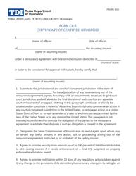 """Form CR-1 (FIN190) """"Certificate of Certified Reinsurer"""" - Texas"""