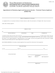 """Form PF6 """"Appointment of Statutory Agent and Consent to Service - Premium Finance Applicant"""" - Texas"""