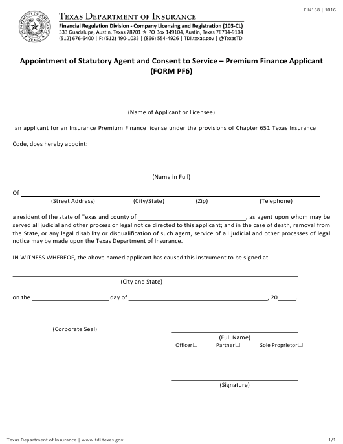 Form PF6  Printable Pdf