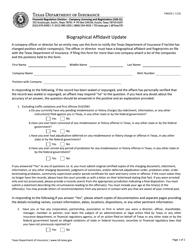 """Form FIN324 """"Biographical Affidavit Update"""" - Texas"""