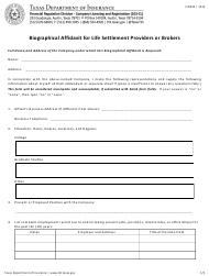 """Form FIN434 """"Biographical Affidavit for Life Settlement Providers or Brokers"""" - Texas"""