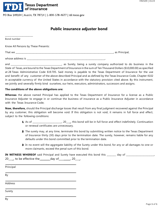 Form FIN509 Download Fillable PDF or Fill Online Public ...