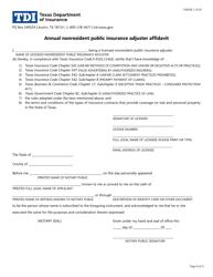 "Form FIN508 ""Annual Nonresident Public Insurance Adjuster Affidavit"" - Texas"