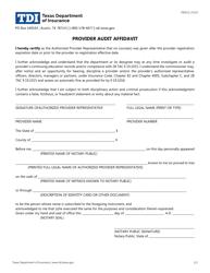 """Form FIN521 """"Provider Audit Affidavit"""" - Texas"""