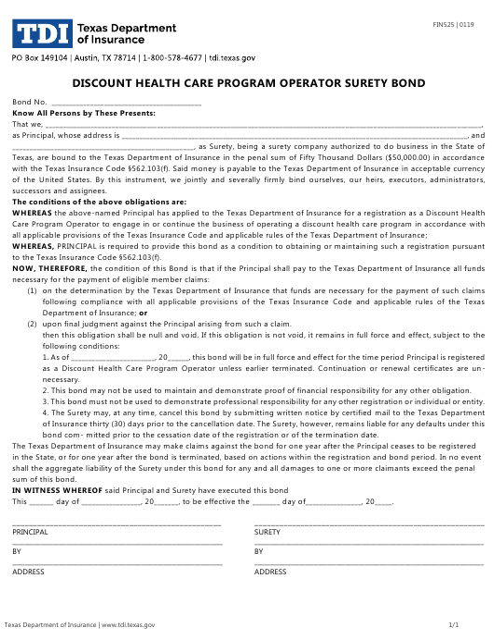 Form FIN525  Printable Pdf