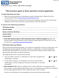 """Form FINT03 """"Title Insurance Agent or Direct Operation Renewal Application"""" - Texas"""