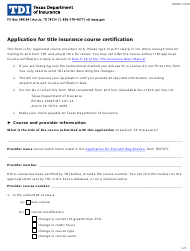 """Form FINT06 """"Application for Title Insurance Course Certification"""" - Texas"""