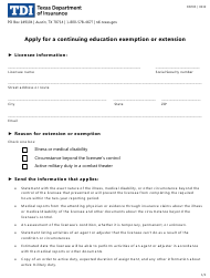 """Form FINT05 """"Apply for a Continuing Education Exemption or Extension"""" - Texas"""