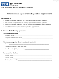 """Form FINT10 """"Title Insurance Agent or Direct Operation Appointment"""" - Texas"""